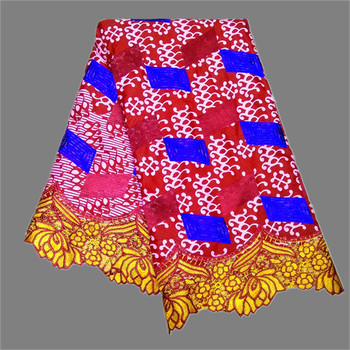 Excellent batik ankara cloth African real embroidery wax lace fabric for lady dress RRL45(6yards/lot) free shipping