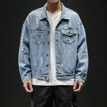 new solid color casual slim men denim jacket XL 5XL bomber jacket / men's high quality hole denim jacket Chaqueta Hombre M-5XL