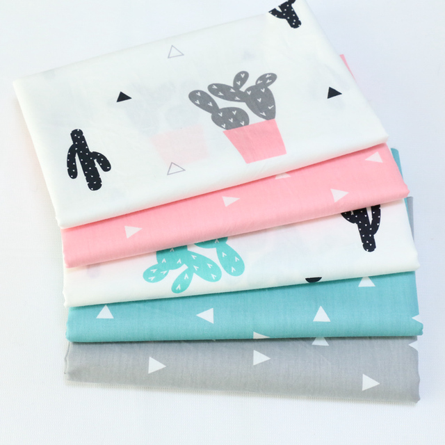 Plant Print Twill Cotton Fabric DIY Tissue Patchwork Telas Sewing Craft Baby Toy Dolls Bedding Quilt Home Textile Cloth Tecido