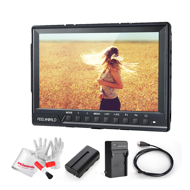 Feelworld FW760 7 Inch IPS Full HD 1920x1200 Support 4K On Camera Field Monitor with 2200mA Battery Kit 1200:1 Contrast 450cd/m2