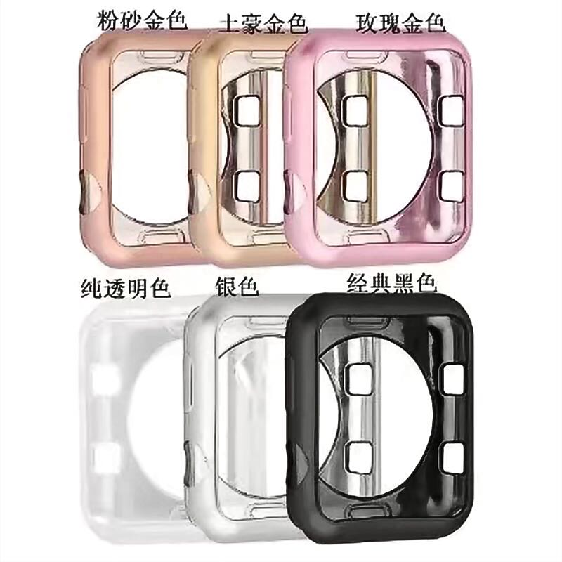 Plating Soft Silicone Case for Apple Watch Series 3/2/1 Cover for iWatch Protective Cover TPU Shell 42mm 38mm Band pc cover case for apple watch 3 2 1 42mm 38mm iwatch series watch case colorful plating full frame protective case armor shell
