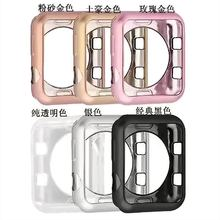 цена на Plating Soft Silicone Case for Apple Watch Series 3/2/1 Cover for iWatch Protective Cover TPU Shell 42mm 38mm Band