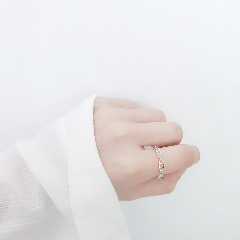 5Virgooer 925 Sterling Silver Open Ring Infinity DNA Chemistry Encircle Ring Jewelry For Women Men Wedding Rings Bijoux Minimalista
