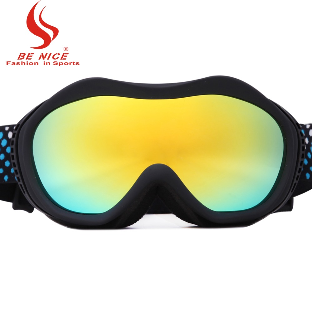 Ladies colorful lens anti fog 100% UV professional eye wear Sports Protective Safety skiing goggles