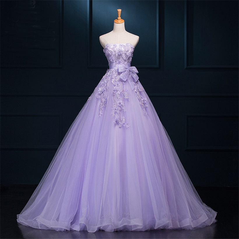 Women 2016 Real picture purple wedding dresses ball gown strapless ...