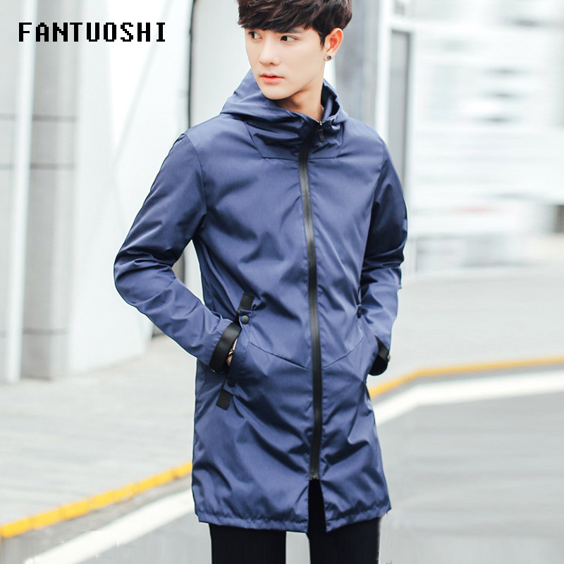 Mens Jackets Spring Autumn New Fashion Slim Casual Medium And Long Section Hooded Solid Coat Men Thin Jacket Plus Size 3XL