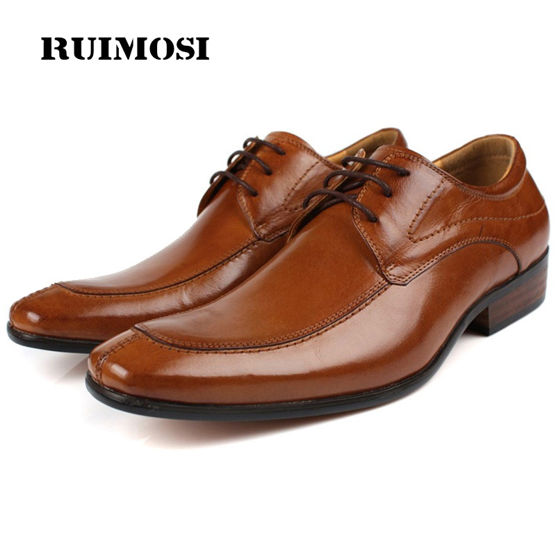 RUIMOSI Plus Size Formal Man Derby Dress Shoes Male Genuine Leather Designer Oxfords Luxury Brand Men's Handmade Footwear IH35