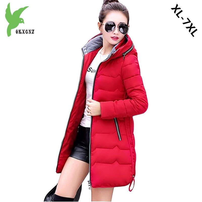 Plus size 7XL Women Winter Jacket Coat Fat MM Cotton Parkas Medium length Hooded Jacket Thick Warm Slim Cotton Parkas OKXGNZ1169