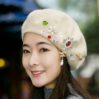 Woman Autumn And Winter Beautiful Pearl Water Drill Woolen Hats Top Quality Pure Wool Beret Caps