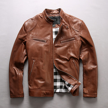 TOP 2018 Men Genuine Leather Jacket Simple design Cow Jackets over size S-7XL Cowhide Rider