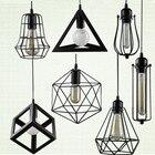 Retro indoor lighting Vintage pendant light LED lights 24 kinds iron cage lampshade warehouse style light fixture