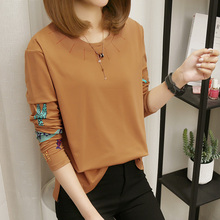 Female Print T-Shirts Fashion New Brand Women Autumn Casual Top Plus Size M-5XL Loose O-neck Long Sleeve T-shirt casual red green 2019 new autumn plus size women s bottom shirts print long sleeves o neck fashion long blouses shirts 805a6