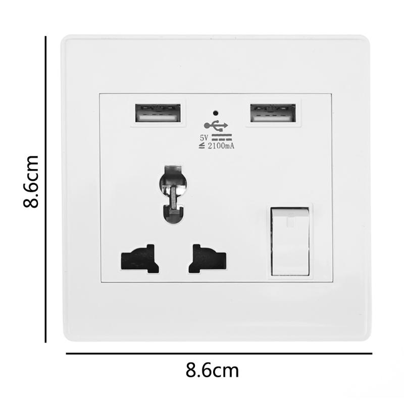 1PCS Smart Wall Socket AC/DC Power Switch Outlet Dual USB Ports 2.1A Charger Adapter Fast Charging Station Panel For Phone цена и фото