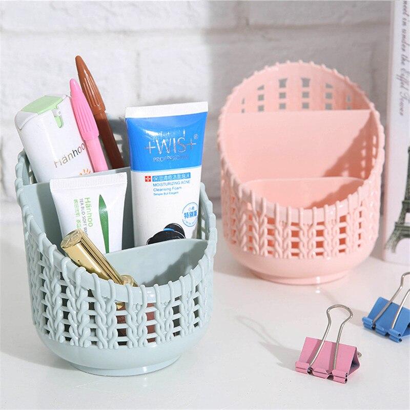 2018 Creative Rattan Plastic Storage Box Hollow Student Desktop Pen Holder Home Office Stationery Cutlery Storage Organizer Tool