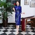 Autumn Winter New QiPao Dress Chinese Traditional Dress Velour Blue Vintage Cheongsam Stand Collar Three Quarter Sleeve