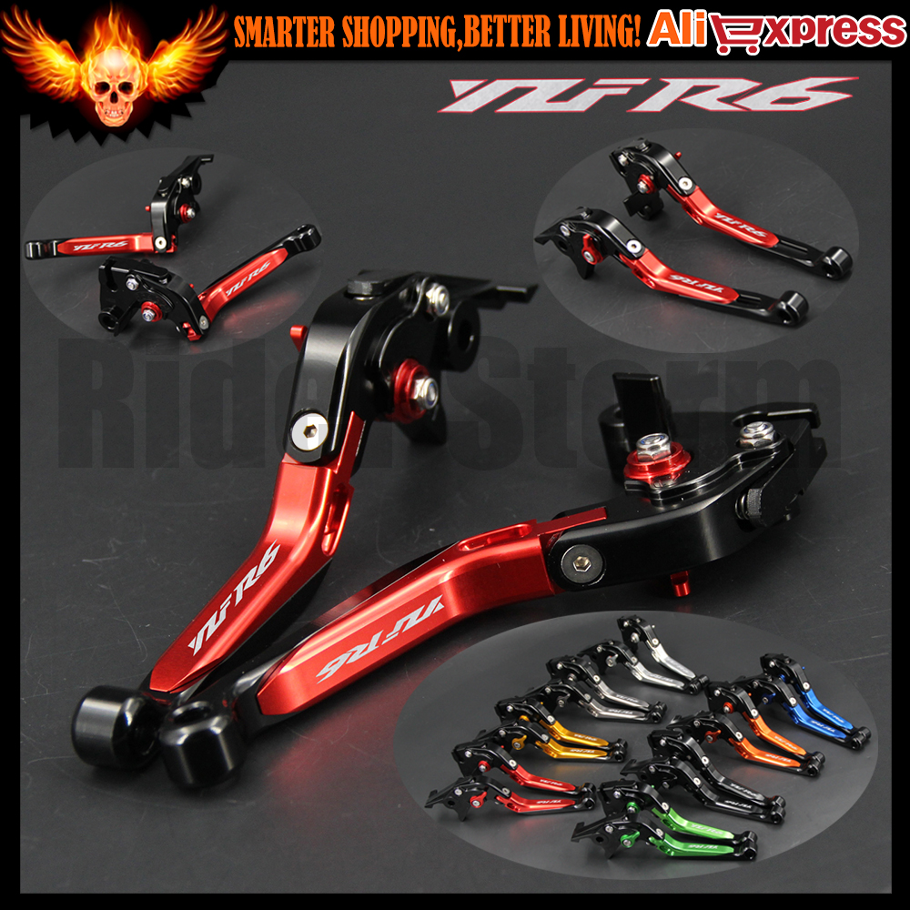 Red color Folding Extendable Motorcycle Adjustable CNC Brake Clutch Levers For Yamaha YZF R6 YZFR6 1999-2004 2000 2001 2002 2003 adjustable cnc billet alu long folding adjustable brake clutch levers for yamaha fz6 fazer 1997 2003 1998 1999 2000 2001 2002