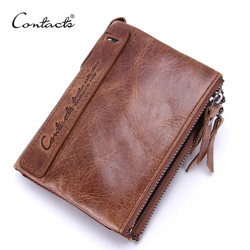 CONTACT'S 100% Genuine Leather Men's Wallets Luxury Brand Short Double Zipper Male Coin Purse Small Wallet For Men Card Holders