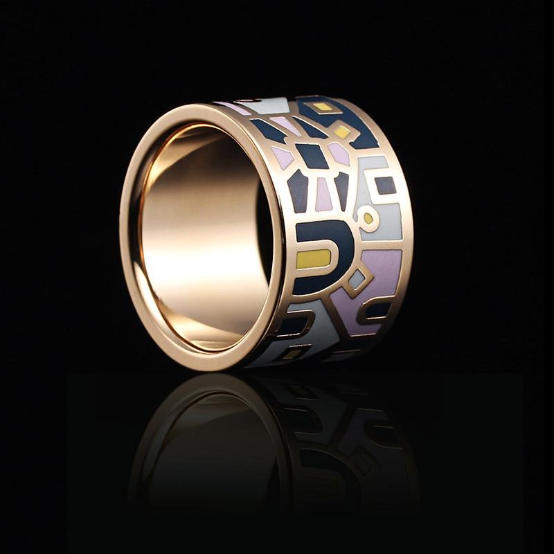 R & X terlaris Eropa dan Amerika pop butik cincin stainless steel indah enamel rantai glasir. Syal gesper cincin mode
