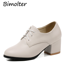 Bimolter Women Fashion Vintage Pumps Soft Leather Oxford Shoes British Style Comfort Office Lady Thick Heels Dress PCEA006