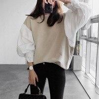 Sonnyour 2016 Autumn New Spring Clothes Round Neck Lantern Sleeve Shirt Women S Split Joint