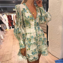 Seamyla New Designer Runway Dress Women's High Quality Puff Sleeve Sexy V-neck Floral Printed Embroidery Button Resort Dresses