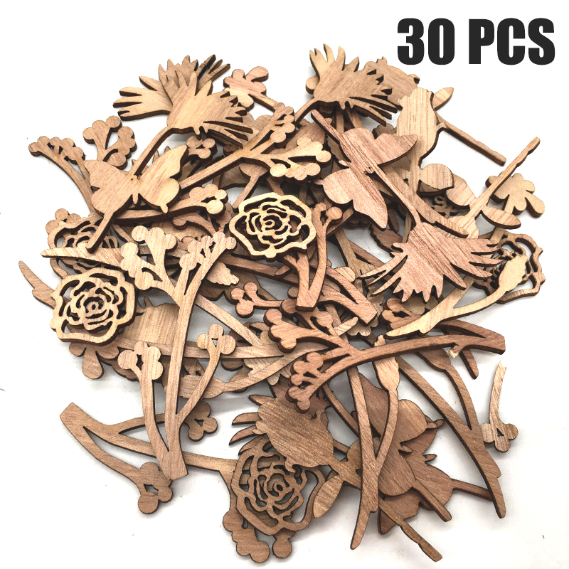 30Pcs Rose Butterfly Wooden Slices Scrapbooking Hollow Craft For Wood Art Wedding Decor Handmade Adhesive Painting Accessories