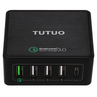 Tutuo Quick Charge 3.0 5Ports USB type c Travel Quick Charger Universal Fast Charger for Samsung Galaxy S8 LG Xiaomi iPhones