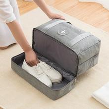 Casual cor sólida sacos de viagem duas camadas roupas sapatos classificação tidy pouch bagagem embalagem cubo organizador acessóriosBolsas para viagem