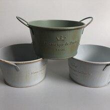 10 unids/lote D12XH6 Vintage Nostalgia de plantador de baldes galvanizados boda macetero para suculentas Romancique de París desde 1898