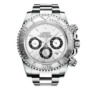 Image 3 - LOREO Mens Sport Multifunction Dial Steel Band Luminous 200M Waterproof Automatic Mechanical Wrist Watches with Month,Week,Date