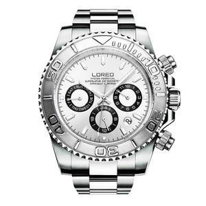 Image 3 - LOREO Mens Sport multifunción Dial banda de acero luminoso 200M impermeable automático relojes de pulsera mecánicos con mes, semana, fecha