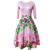 Flamingo Dress Runway Print Vintage Women Pink Floral Palm Leaves O Neck Female Flower Casual Retro