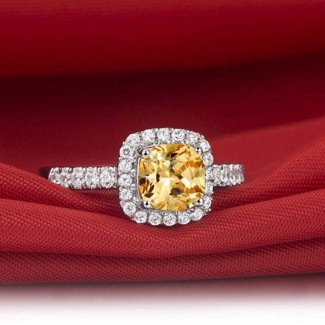 Erklarung Solide 585 Gold Ring 3 Ct Cushion Cut Gelbe Synthetischen