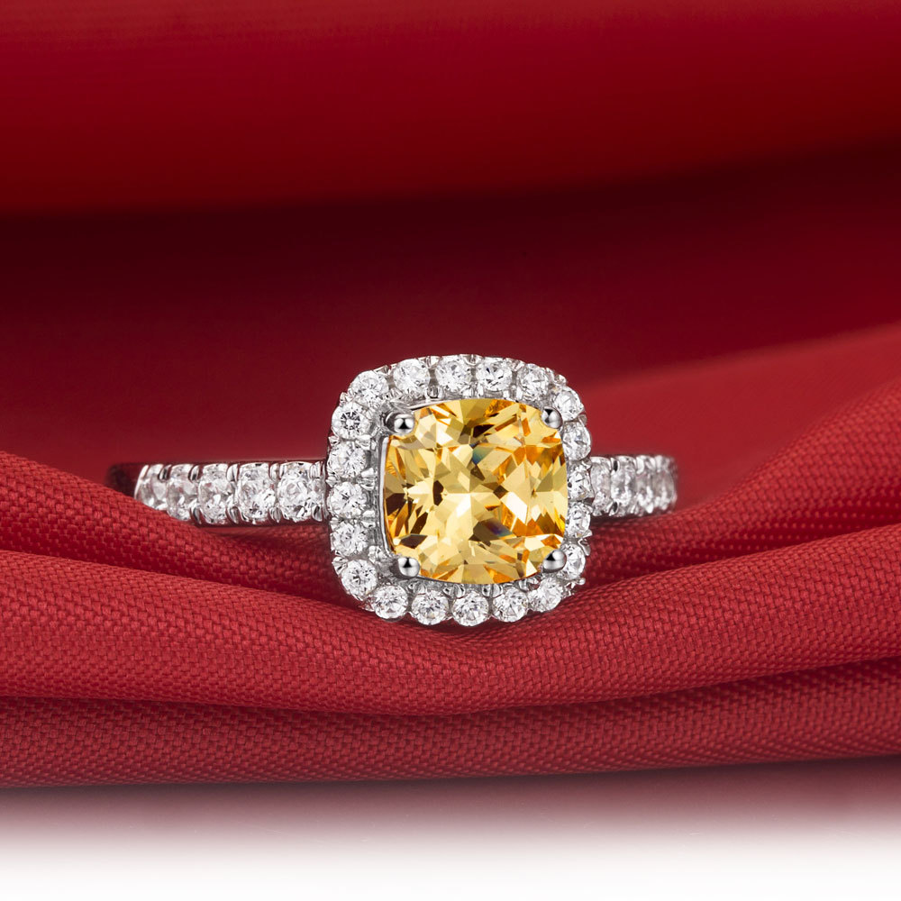 Statement Solid 585 Gold Ring 3 Ct Cushion Cut Yellow Synthetic Diamonds  Engagement Ring Free Drop