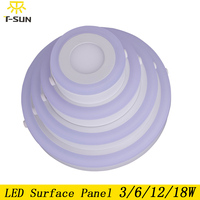 T SUNRISE LED Panel Light Surface Mounted Downlight 3W 6W 12W 18W Double Color LED Recessed