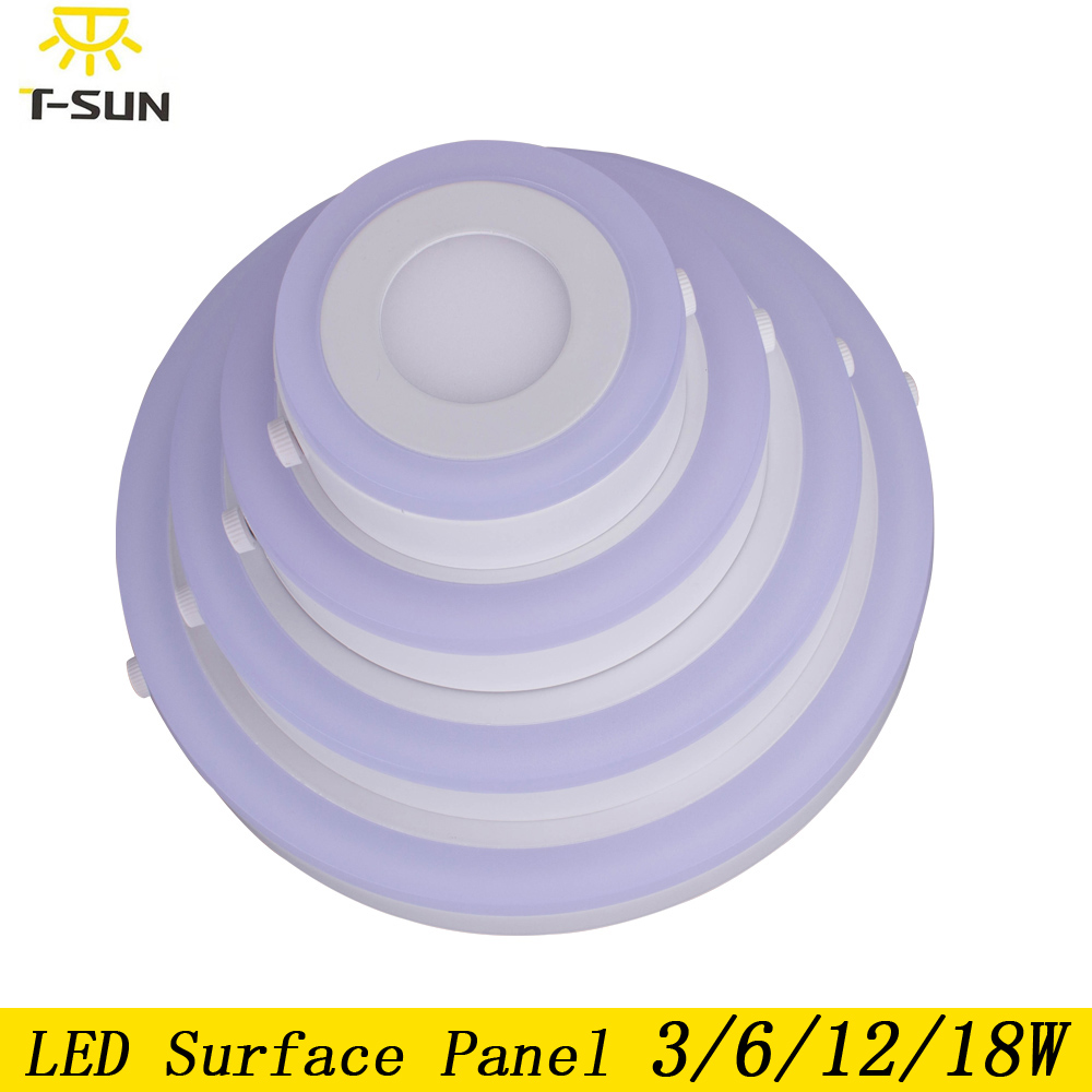 T-SUNRISE LED panel light surface mounted Downlight 3W 6W 12W 18W double color LED recessed ceiling lamp light SMD2835 AC85-265V