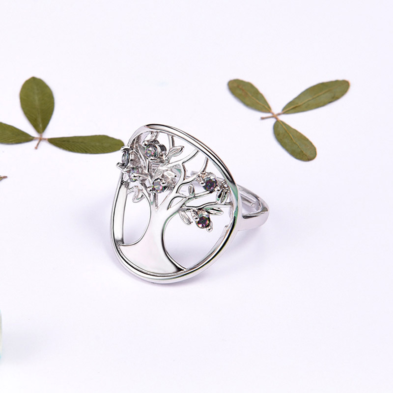Tree of Life Ring 925 Sterling Silver Adjustable Ring Open Ring Spritual Family Tree Ring For Women R6247B stylish adjustable tree of life layered wrap necklace