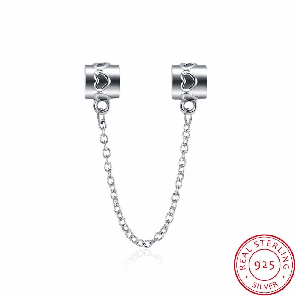 100% 925 plata esterlina claro ZIRCON corazón cadena Amuletos Cuentas  encajar original pulsera collar DIY joyería Accesorios p011