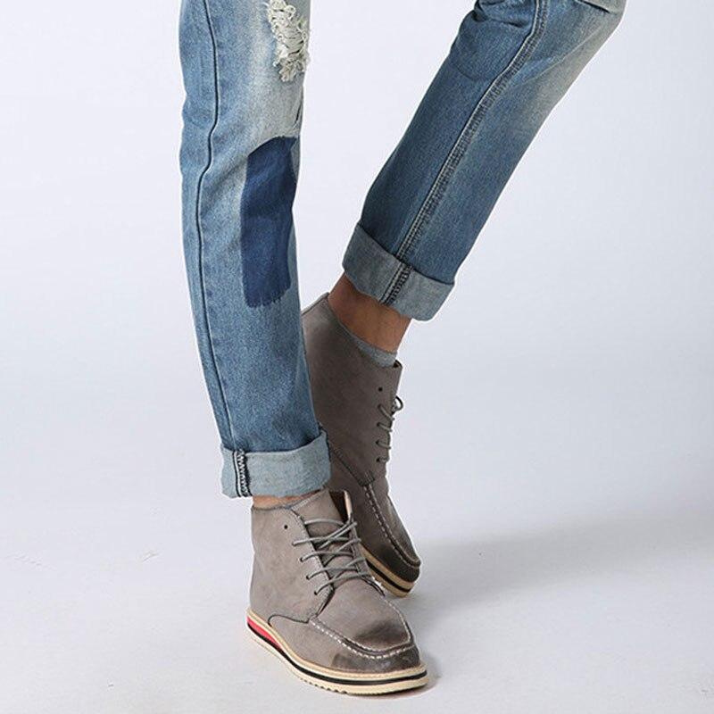 079cf3f150 Tangnest hombres jeans patchwork azul claro estilo del resorte pantalones  vaqueros de cintura baja pantalones vaqueros de mezclilla de moda masculina  slim ...