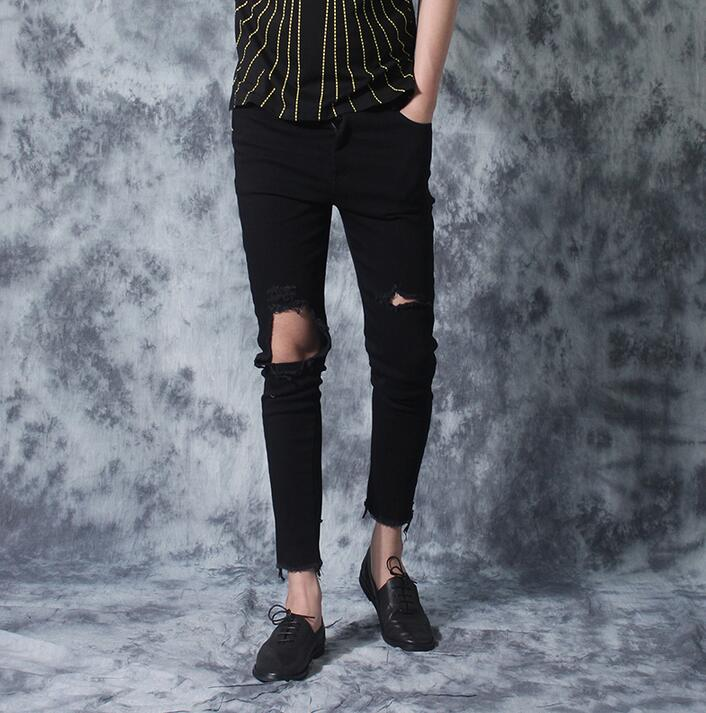 Black knee hole pants men jeans slim thin all-match ankle length trousers mens casual pants personality pantalon homme novelty
