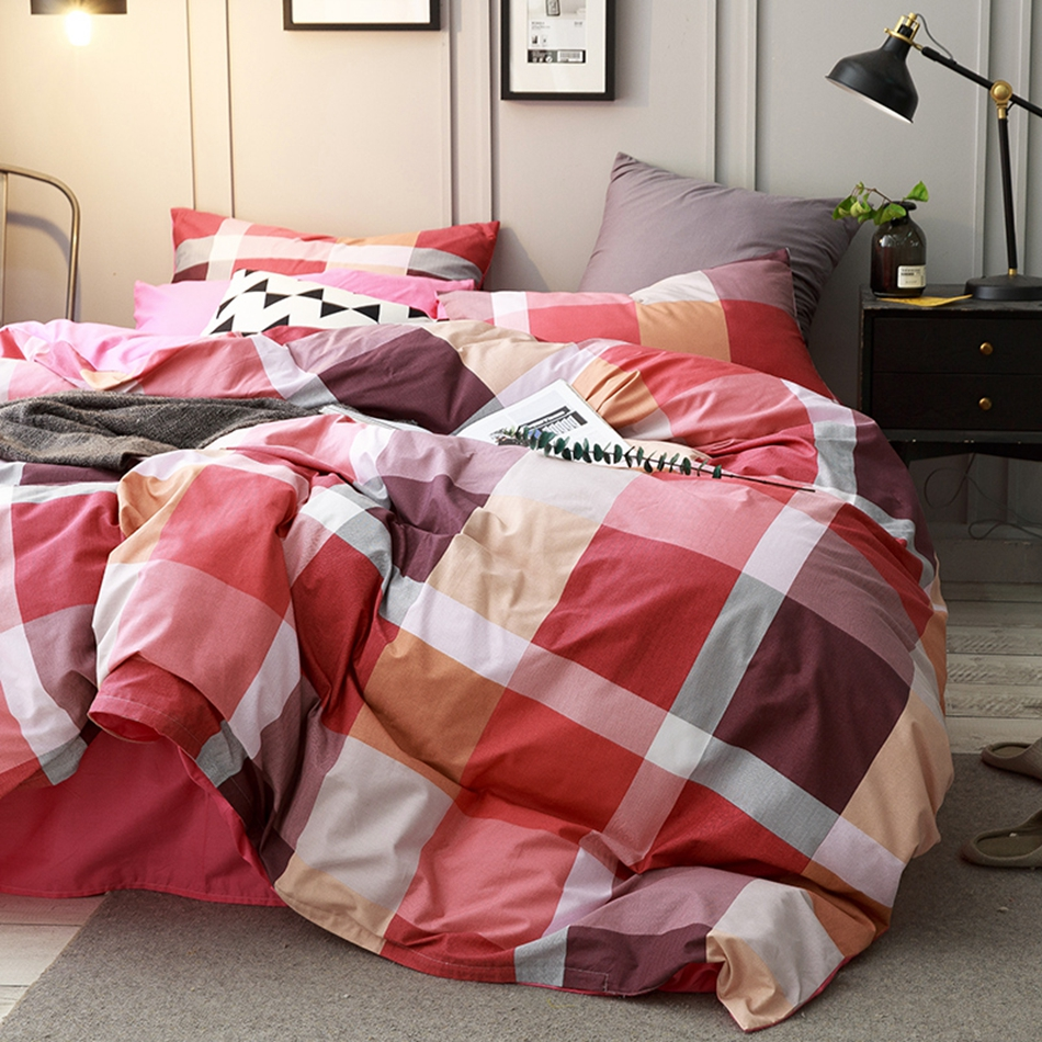 red plaid duvet cover set queen king size bedding set 100 cotton modern duvet cover - Modern Duvet Covers