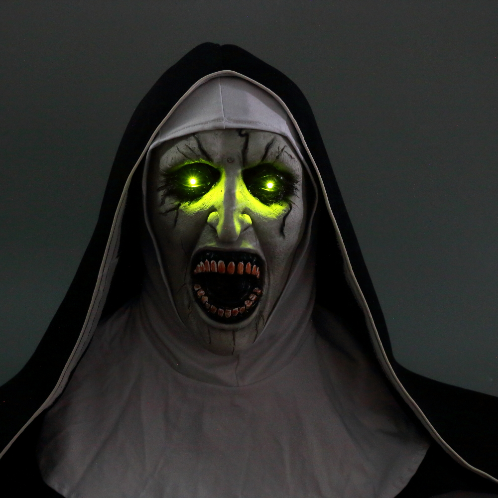 The Nun Mask Horror Mask With Scary Voice With Led light Cosplay Valak Latex Masks With Headscarf Helmet Halloween Party Props (5)
