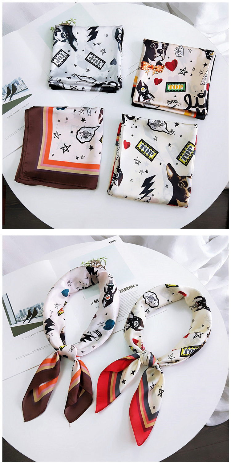 HTB1dcfYLwHqK1RjSZJnq6zNLpXa9 - 70*70cm Fashion Kerchief Cartoon Scarf For Women Animal Print Hair Scarf Female Square Neckerchief Cute Headband Scarves