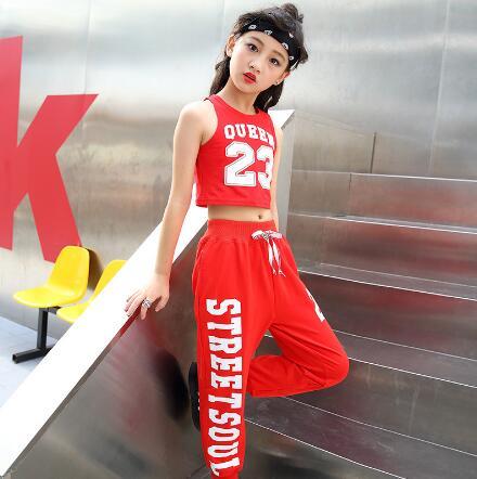 Детские танцевальные костюмы для джаза, современный комплект в стиле хип хоп для девочек, детский летний спортивный костюм, красный топ + шт