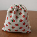 "Strawberry Linen Drawstring Bags 8x10cm(3""x4"") Girl Birthday Party Wedding Favor Holder Jewelry Gift Pouches"