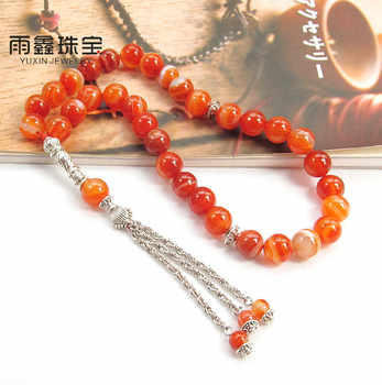 Natural Sardonyx Stone bracelet Islamic musilm 33 prayer beads Allah tashih Rosary bead for Christmas Holiday  Halloween gift - DISCOUNT ITEM  0% OFF All Category