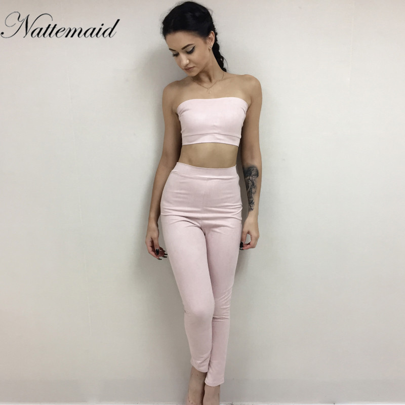 4664795e3356 NATTEMAID New Sexy rompers womens jumpsuit Two piece Strapless Suede Suit High  Waist Jumpsuit pink outfits combinaison femme-in Jumpsuits from Women s ...