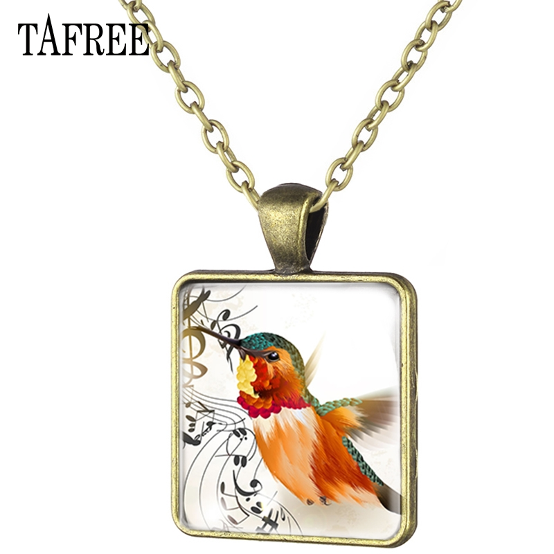 TAFREE Musical Note And Bird Square Pendant Necklace  Classic Necklaces Choker Statement Art Photo Keepsake Jewelry MT05