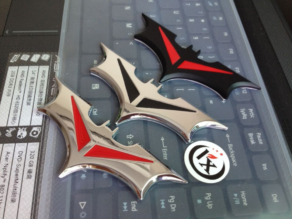 20PCS High Quality New Car Styling Auto Car Badge Emblem 3D Metal Chrome Bat Batman Logo