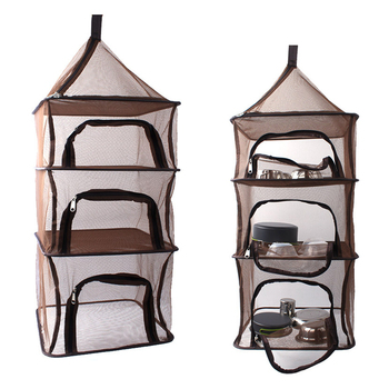 Outdoor BBQ Picnic 4 Layer Hanging Mesh Foods Dish Camping Dry Net Portable Folding Bag Rack Shelf Party Park Tableware Tools
